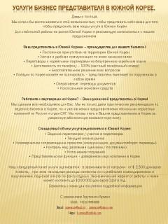 Услуги бизнес & торгового представителя в Южной Корее